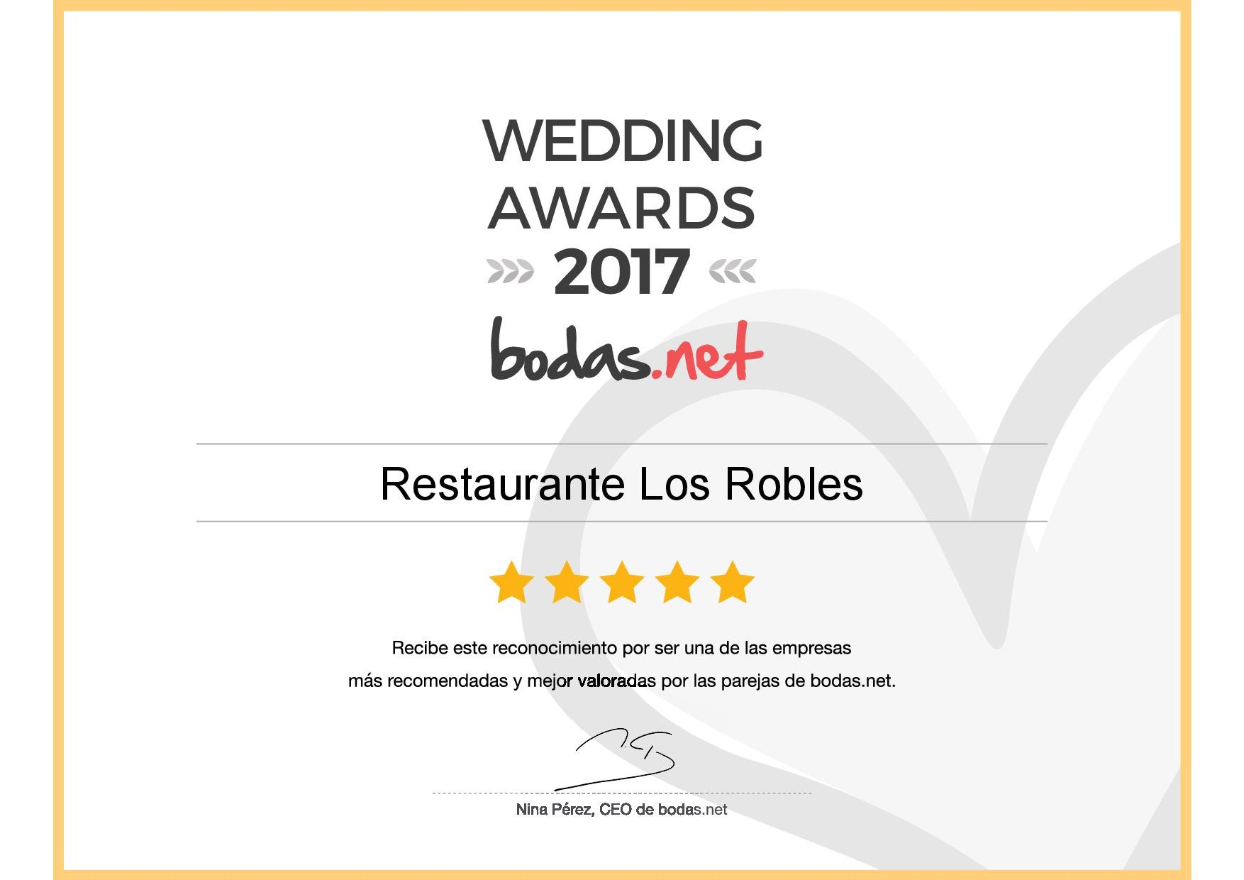 Restaurante Los Robles, ganador Wedding Awards 2017 bodas.net